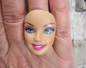 Barbie Doll Face - upcycled adjustable ring -R