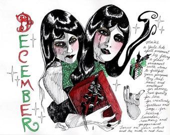 COLOR Dame Darcy, Meat Cake , original art, hand drawn, comix, comics, manga, print, zine, 2017 witchcraft calendar, page art, December