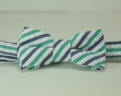 Navy and Green Seersucker Stripe Boy's Bow Tie, Ring Bearer Bowtie, Toddler, Baby