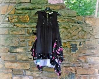 Size XL Jardin des Tuileries Dress gypsy clothing lagenlook dress boho clothing hippie boho chic bohemian wearable art FREE U.S. SHIPPING