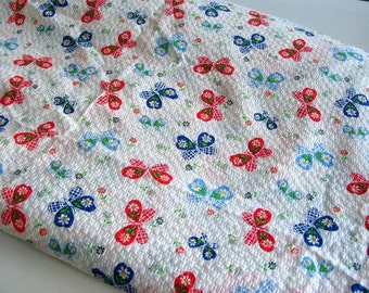Vintage Cotton Butterfly Floral Fabirc Yardage 7.3 Yards