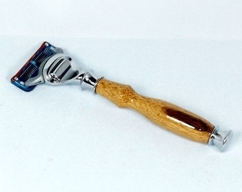 Handcrafted Marblewood Razor Handle for Gillette Fusion/Mach3/DE Safety Razor