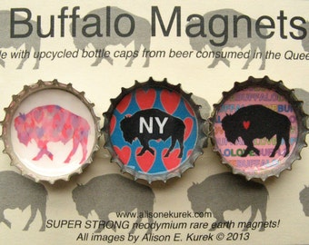 Heart Buffalo Magnets -Bison Magnets - Bottle Cap Magnets - Set of 3 - Buffalo NY - Buffalo Gift - Buffalo New York Buffalove Gift