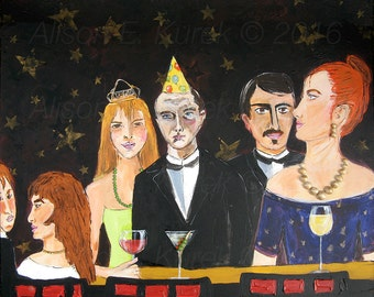 Contemporary Art - Bar Scene Print -  8 x 10 Print - Bar Art - Cocktail Party Print - Celebration - Birthday Hat - Birthday Party Print