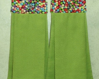SET OF 2 - Hanging Cloth Top Kitchen Hand Towels - Jaw Breaker Candy Print, Larger Bright LIME Green Towels