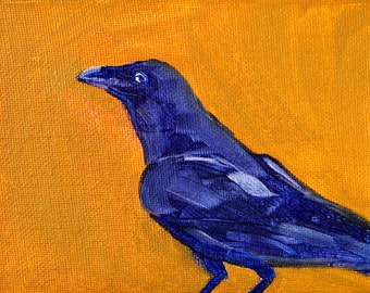 Little Raven Bird Painting, Original Oil, Small 4x5 Canvas, Blue Black, Gold, Wildlife, Woodland Creature, Crow, Tiny Animal, Miniature