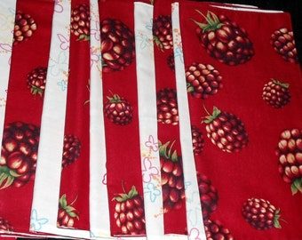 set of 16 cloth napkins, handmade, reversible, vintage linens, bright red raspberries, butterflies, up-cycled, ONE DOLLAR EACH, machine wash