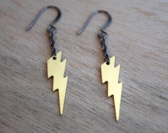 Ziggy earrings - gunmetal plated metal hooks with solid brass lightning bolt charms - David Bowie / Ziggy Stardust / Rocker / Rock and Roll