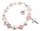 Beautiful personalized Baptism Bracelet, Christening Bracelet with Cross charm, initial, pearls and crystals- pink white, any colors