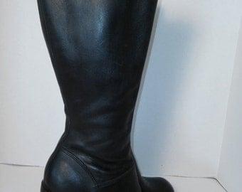 SALE 90s Chunky Heel boots Black leather Rave Club Kid Grunge Size 6 B US