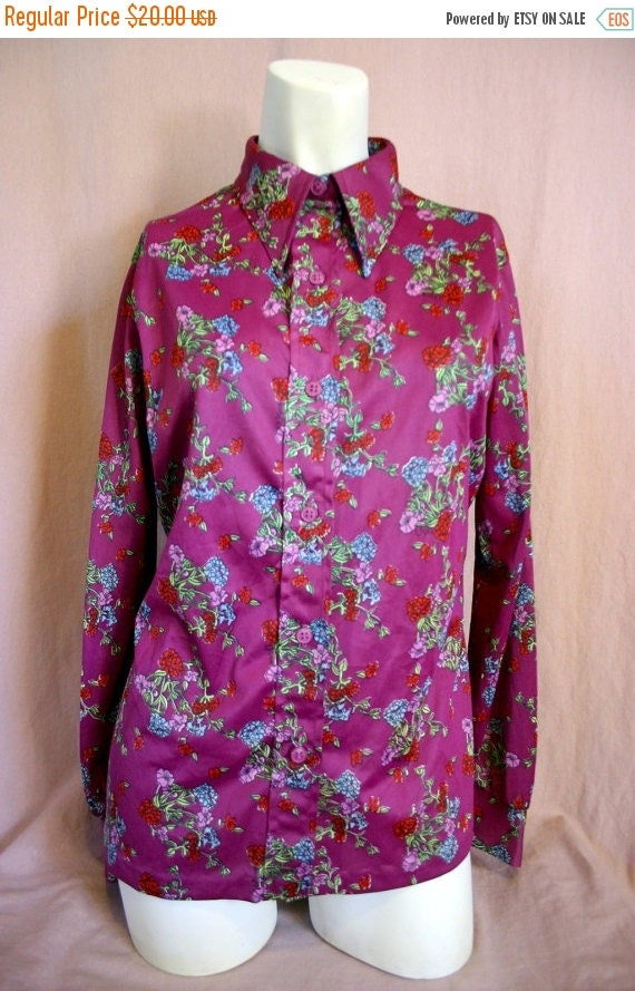 Vintage womens clothing 70's PURPLE FLORAL print button up collar long sleeve shirt - Vera Neumann
