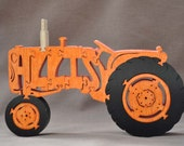 Vintage Allis Chalmers Farm Tractor Wooden Toy Puzzle Hand Cut