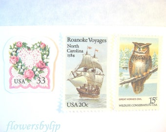 Wedding Postage Stamps, Vintage Sailing Ship, Pink Rose Heart, Owl, Pastel, Mail 20 Nautical Invitations, 2 oz 68 cent unused postage stamps