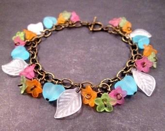 Flower Charm Bracelet, Rainbow Blossoms and Hearts, Brass Beaded Bracelet, FREE Shipping U.S.