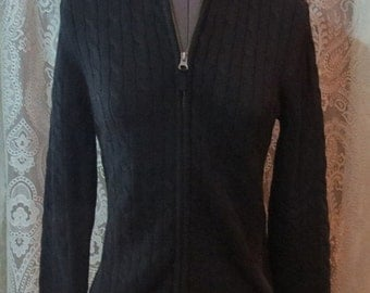 ON SALE Ladies Black Ribbed Sweater w/Zip Up Front Small