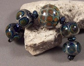Handmade Lampwork Beads by Mona Sullivan - The Fire Within - Monaslampwork Glass Beads Organic Boho Silver Reactive Lampwork Set