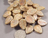 Czech Glass Beads 16x12mm Leaves Green Gray color with Picasso Finish (Qty 5)