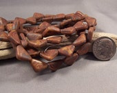 Czech Glass Beads 12mm Brown Picasso Carved Triangles (Qty 10)