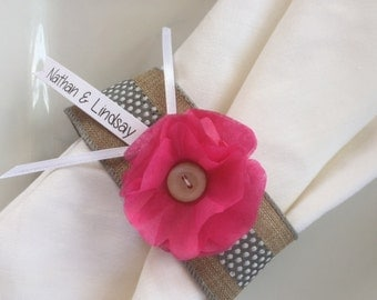 Bridal Shower, Wedding, Baby Shower Tissue Paper Flower Ribbon Napkin Rings Place Setting