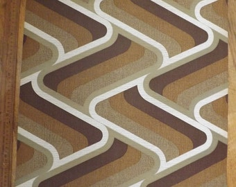 Retro wallpaper large brown wave pattern 60s 70s by the meter