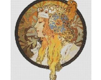 Alphonse Mucha Woman pattern for loom or peyote