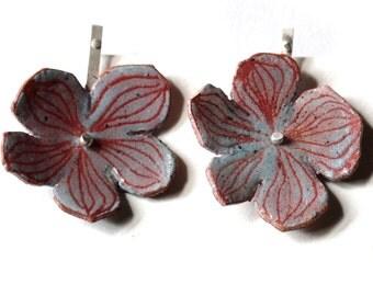 Enameled Hydrangea Blossom - Post or threader earrings