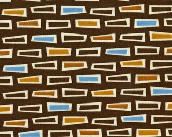 CLEARANCE .5 Yard Caleb Gray Groove Screenprint Rectangles in Brown