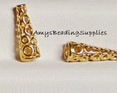 4 Anti-tarnish 14MM brass cones with Lace Pattern