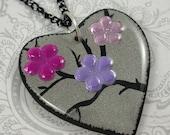 Pink Flower Heart Pendant Necklace