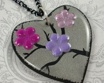 Pink Flower Heart Pendant Necklace