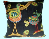 Pillow Cover With Folk Art Birds 18 inch