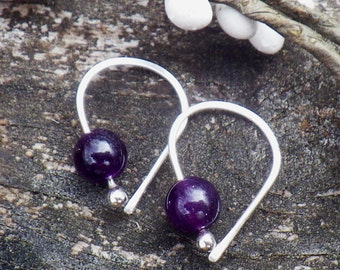 Amethyst sterling silver open hoop earrings
