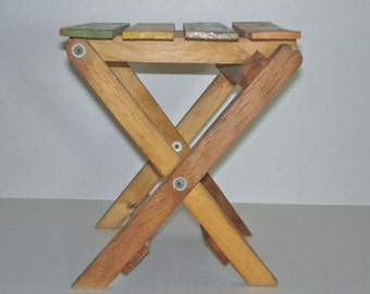 Small Wood Folding Stool Child's Seat Vintage Stand Painted Top