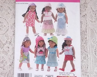 "Simplicity 1928 dated 2012 18"" inch doll clothes dress top tiered skirt hat bonnet"