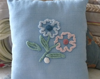 Upcycled blue chenille, chenille flower pillow, cottage chic, porch pillow, blue pink green
