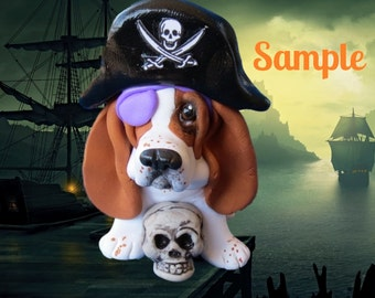 Whimsical red and white Basset Hound PIRATE Dog polymer clay OOAK sculpture by Sally's Bits of Clay
