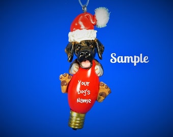 Brindle Great Dane Santa dog natural ears Christmas Holidays Light Bulb Ornament Sally's Bits of Clay PERSONALIZED FREE with dog's name