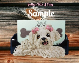 Maltese Dog with Pink Bows Business Card /Cell Phone Holder OOAK sculpture  by Sally's Bits of Clay