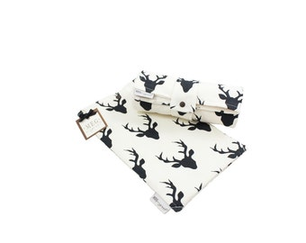 s a l e - Diapering Set - Black Deer Silhouettes on Ivory  { Baby / Toddler } Travel Changing Pad + Clutch, 710