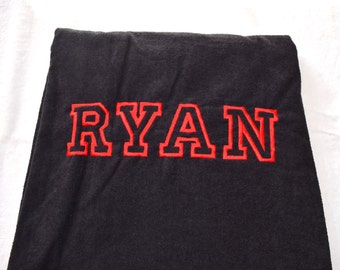 """Holiday SALE """"RYAN"""" PERSONALIZED Beach Towel Custom Embroidery 100% Terry Cotton Velour Towel Made to Order"""