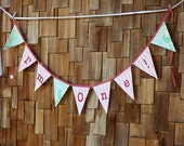 HALF PRICE SALE I'm One! Bunting Banner Birthday Flags, Girl Themed Photo Prop, Nursery Decoration Party Banner. Shabby Chic Red Pink Design