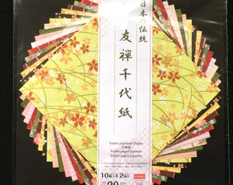 Japanese Yuzen Paper 10 Patterns 20 Sheets 14.5 x 14.5 cm Flowers And More