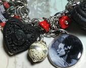 Bride of Frankenstein charm Bracelet, altered art , gothic horror,  handmade, one of a kind, bostoncharm, mixed media