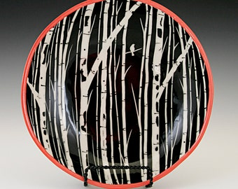 Shallow Bowl with Sgraffito Carved Birch Tree Design - Reserved for Wendy