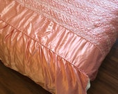 50s Full Size Pink Satin Bedspread With Quilted Details