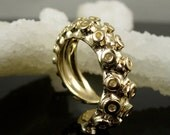 VDay SALE 14K Yellow Gold Tentacle Ring, Engagement ring, Wedding Band, Octopus Jewelry
