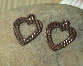 Closeout Antique copper heart dangle 12x11mm, 20 pcs (item ID ACHD12x11)