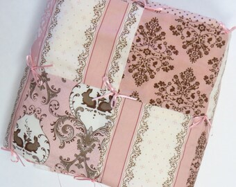 SALE - READY to SHIP Bunny Hill Baby Quilt in Pink, Vanilla and Chocolate