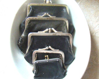 Antique Leather Coin Change Purse Collection Set Of 5 Black Beauties
