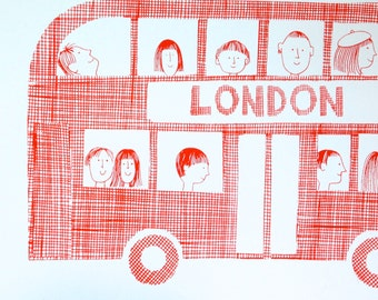 Hand Pulled London Bus Screen Print by Jane Foster Retro Modern signed